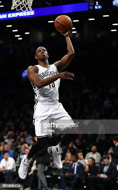 Isaiah Whitehead of the Brooklyn Nets in action against the Atlanta Hawks during their game at the Barclays Center on January 12 2017 in New York...
