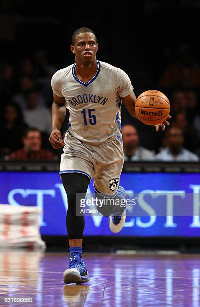 Isaiah Whitehead of the Brooklyn Nets in action against the Atlanta Hawks during their game at the Barclays Center on January 10 2017 in New York...