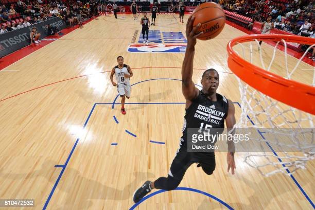 Isaiah Whitehead of the Brooklyn Nets shoots a lay up during the game against the Atlanta Hawks during the 2017 Las Vegas Summer League on July 7...