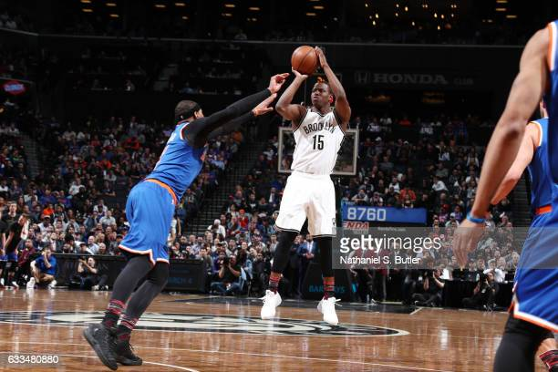 Isaiah Whitehead of the Brooklyn Nets shoots the ball against Carmelo Anthony of the New York Knicks during the game on February 1 2017 at Barclays...