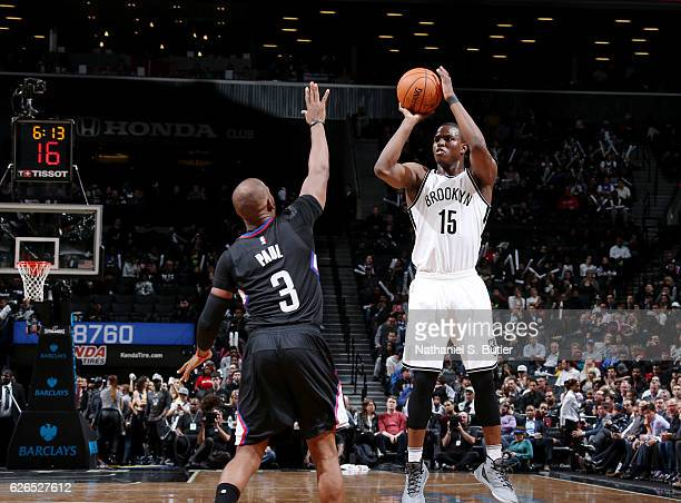 Isaiah Whitehead of the Brooklyn Nets shoots the ball against the LA Clippers during the game on November 29 2016 at Barclays Center in Brooklyn New...