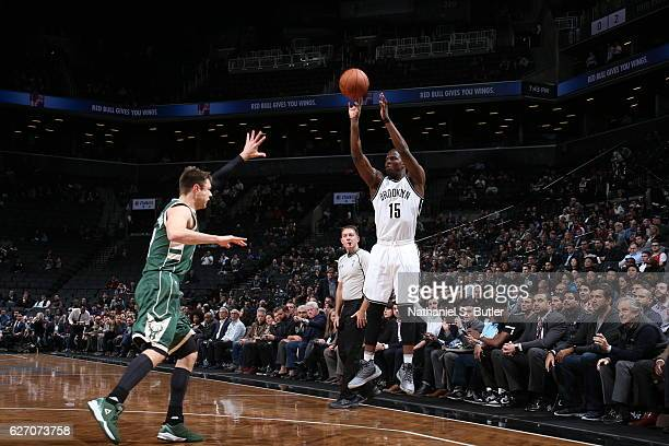 Isaiah Whitehead of the Brooklyn Nets shoots the ball against the Milwaukee Bucks on December 1 2016 at Barclays Center in Brooklyn New York NOTE TO...