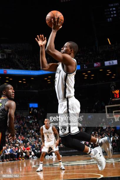 Isaiah Whitehead of the Brooklyn Nets shoots the ball against the Atlanta Hawks on April 2 2017 at Barclays Center in Brooklyn New York NOTE TO USER...