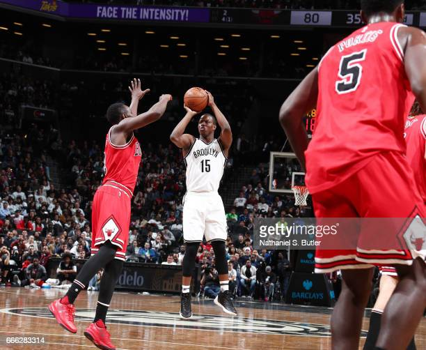 Isaiah Whitehead of the Brooklyn Nets shoots the ball against the Chicago Bulls during the game on April 8 2017 at Barclays Center in Brooklyn New...