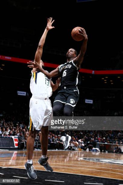 Isaiah Whitehead of the Brooklyn Nets shoots the ball during the game Utah Jazz on November 17 2017 at Barclays Center in Brooklyn New York NOTE TO...
