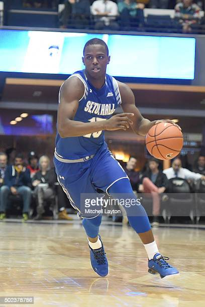 Isaiah Whitehead of the Seton Hall Pirates dribbles the ball during a college basketball game against the George Washington Colonials at the Smith...