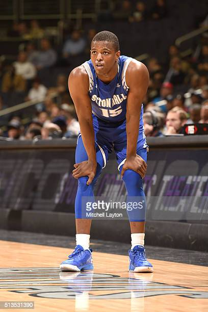 Isaiah Whitehead of the Seton Hall Pirates looks on during a college basketball game against the Georgetown Hoyas at the Verizon Center on February...