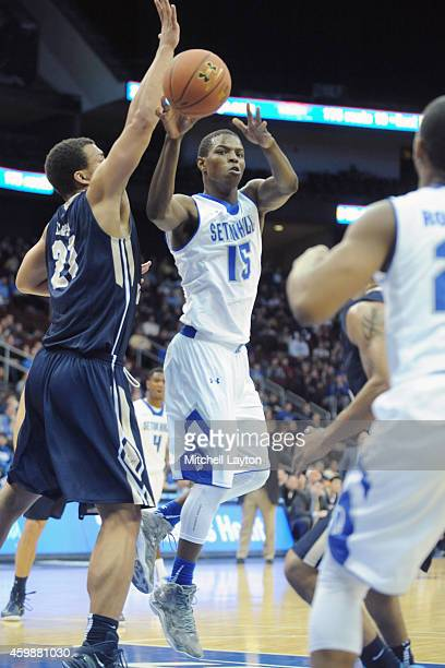 Isaiah Whitehead of the Seton Hall Pirates passes the ball during a college basketball game against the George Washington Colonials at the Prudential...