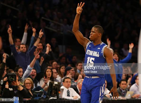 Isaiah Whitehead of the Seton Hall Pirates racts after hitting a threepointer against the Villanova Wildcats during the Big East Basketball...