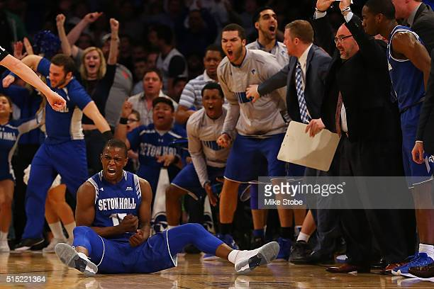 Isaiah Whitehead of the Seton Hall Pirates reacts after hitting a basket and fouled against the Villanova Wildcats during the Big East Basketball...