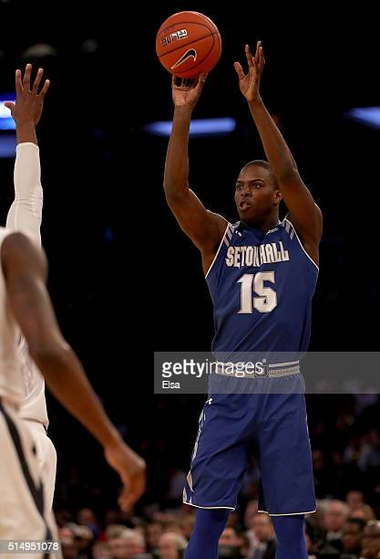 Isaiah Whitehead of the Seton Hall Pirates takes a shot against the Xavier Musketeers during the semifinals of the Big East Basketball Tournament on...