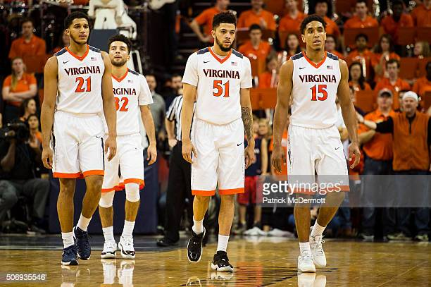 Isaiah Wilkins London Perrantes Darius Thompson and Malcolm Brogdon of the Virginia Cavaliers in action in the second half during a game against the...