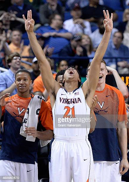 Isaiah Wilkins of the Virginia Cavaliers celebrates during a win against the Florida State Seminoles during the quarterfinals of the ACC Basketball...