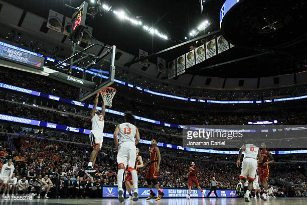 Isaiah Wilkins of the Virginia Cavaliers dunks against the Iowa State Cyclones in the second half during the 2016 NCAA Men's Basketball Tournament...