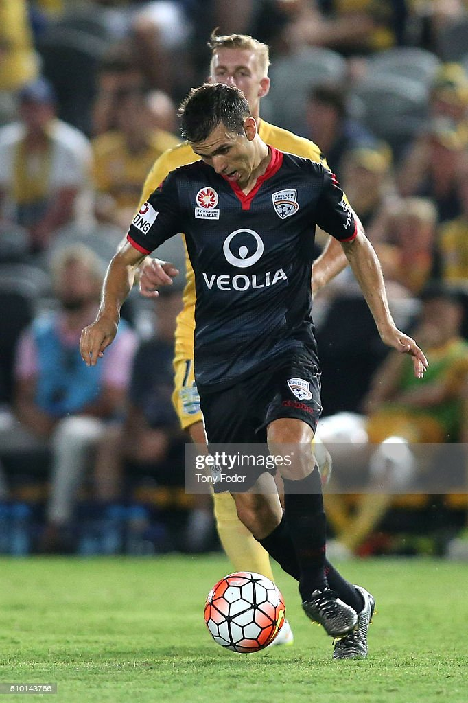 Isaias of Adelaide in action during the round 19 A-League match between the Central Coast Mariners and Adelaide United at Central Coast Stadium on February 14, 2016 in Gosford, Australia.
