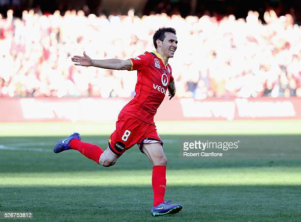 Isaias of Adelaide United celebrates after scoring a goal during the 2015/16 ALeague Grand Final match between Adelaide United and the Western Sydney...