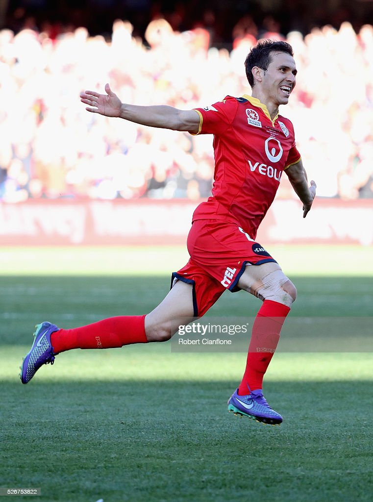 Isaias of Adelaide United celebrates after scoring a goal during the 2015/16 A-League Grand Final match between Adelaide United and the Western Sydney Wanderers at Adelaide Oval on May 1, 2016 in Adelaide, Australia.