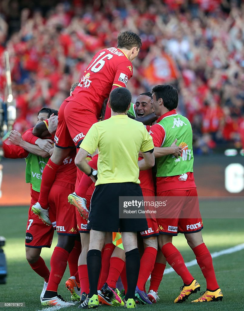 Isaias of Adelaide United celebrates with team mates after scoring a goal during the 2015/16 A-League Grand Final match between Adelaide United and the Western Sydney Wanderers at Adelaide Oval on May 1, 2016 in Adelaide, Australia.