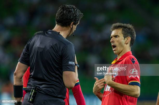 Isaias of Adelaide United confronts the umpire during the round 26 match of the Hyundai ALeague between Adelaide United and Melbourne City on April...