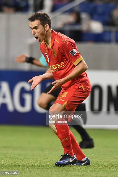 Isaias of Adelaide United reacts during the AFC Champions League Group H match between Gamba Osaka v Adelaide United at Suita City Football Stadium...
