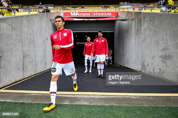 Isaias of Adelaide United takes the field to warm up during the round one ALeague match between Wellington Phoenix and Adelaide United at Westpac...