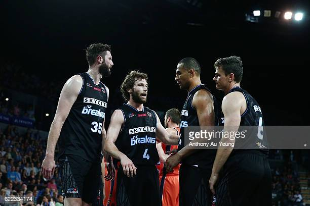 Isaih Tueta of the Breakers gathers the team during the round six NBL match between the New Zealand Breakers and the Cairns Taipans at Vector Arena...