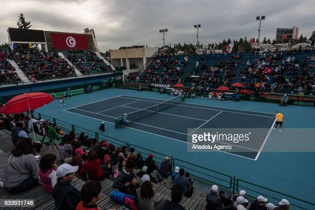 Isak Arvidsson of Sweden and Mohamed Aziz Dougazi of Tunisia during their second round single tennis match of the Davis Cup's Europe and Africa Zone...