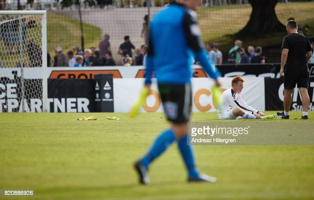 Isak Pettersson goalkeeper of Halmstad BK after 22 in the Allsvenskan match between Halmstad BK and GIF Sundsvall at Orjans Vall on July 22 2017 in...