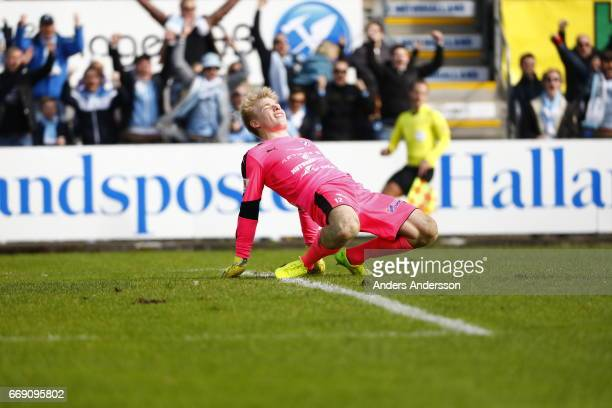 Isak Pettersson is depressed after 03 during the Allsvenskan match between Halmstad BK and Malmo FF at Orjans Vall on April 16 2017 in Halmstad Sweden