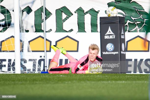 Isak Pettersson of Halmstad BK saving the ball during the Allsvenskan match between Jonkopings Sodra IF and Halmstad BK at Stadsparksvallen on April...