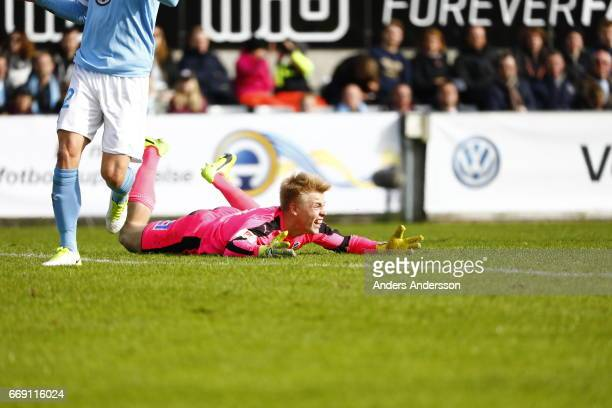 Isak Pettersson on the ground during the Allsvenskan match between Halmstad BK and Malmo FF at Orjans Vall on April 16 2017 in Halmstad Sweden