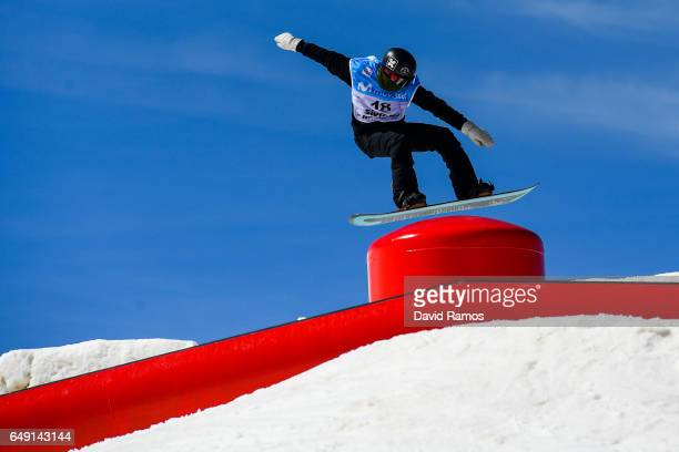 Isak Ulstein of Norway in action during slopestyle training during previews of the FIS Freestyle Ski Snowboard World Championships 2017 on March 7...