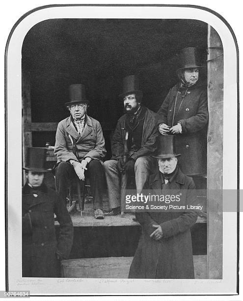 Isambard Kingdom Brunel standing to the far right with his colleagues at the launch of his ship the SS Great Eastern in 1857 The seated man on the...