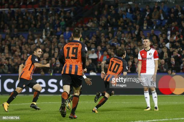 Isamily of FC Shakhtar Donesk Facundo Ferreyra of FC Shakhtar Donesk Bernhard of FC Shakhtar Donesk Steven Berghuis of Feyenoord during the UEFA...