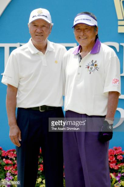 Isao Aoki and Masashi Ozaki pose for photographs prior to the first round of the Crowns at Nagoya Golf Club Wago Course on April 27 2017 in Togo...