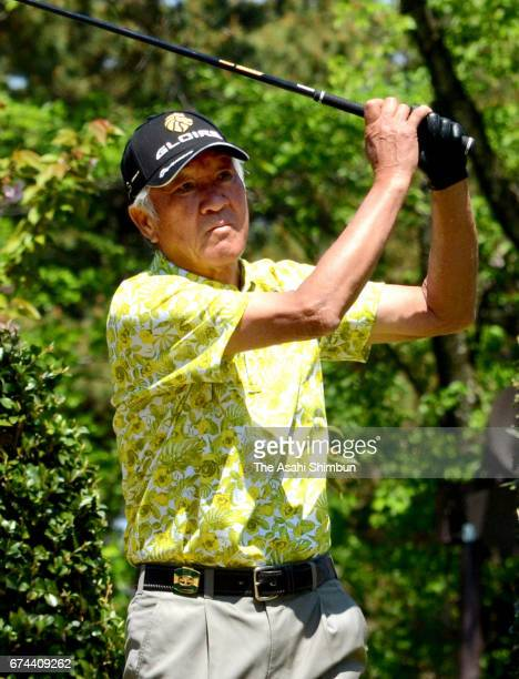 Isao Aoki of Japan hits a tee shot on the 10th hole during the second round of the Crowns at Nagoya Golf Club Wago Course on April 28 2017 in Togo...
