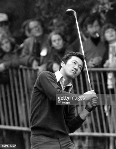 Isao Aoki of Japan watching his drive form the 17th tee at Wentworth when he met American Ray Floyd in the Colgate World Match Play Championships...