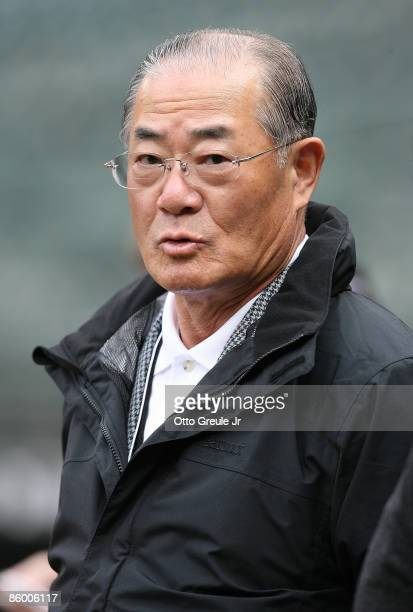 Isao Harimoto the current alltime hits leader among Japanese players watches batting practice prior to the game between the Seattle Mariners and the...