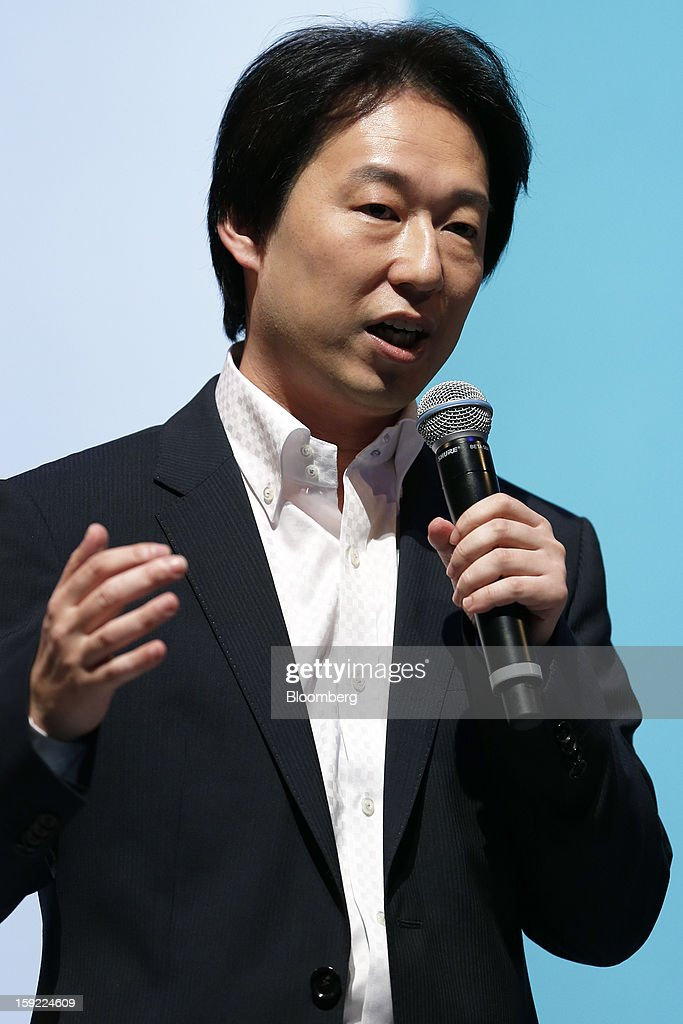 Isao Moriyasu, president of DeNA Co., speaks during a news conference in Tokyo, Japan, on Thursday, Jan. 10, 2013. DeNA will offer music services for iOS and Android platforms within this fiscal year, according to a statement today. Photographer: Kiyoshi Ota/Bloomberg via Getty Images