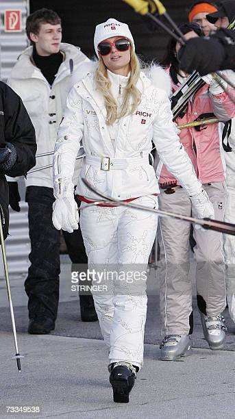 US socialite and heiress to the Hilton hotel chain Paris Hilton walks in Ischgl ski resort western Austrian province of Tyrol 16 February 2007 Hilton...