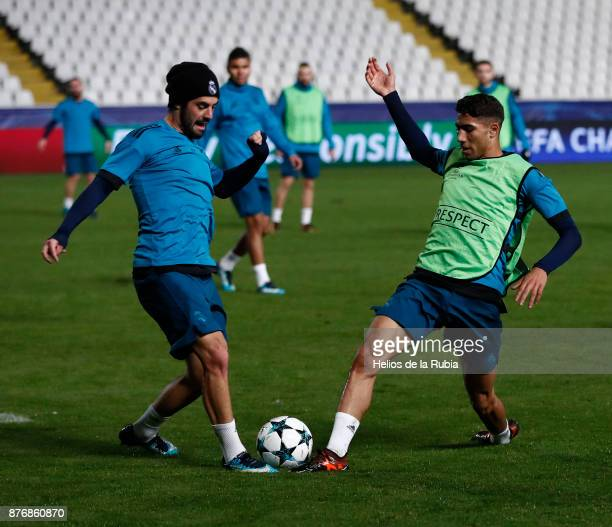 Isco Alarcon and Achraf Hakimi of Real Madrid warm up during the UEFA Champions League group H match between APOEL Nikosia and Real Madrid at GSP...