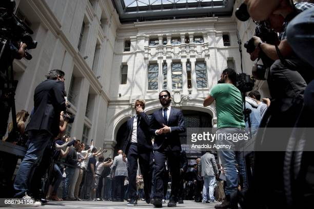Isco Alarcon and Fabio Coentrao of Real Madrid arrive at the city hall of Madrid to offer the league cup to Madrid mayor Manuela Carmena and Real...