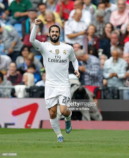 Isco Alarcon of Real Madrid celebrates after scoring during the La Liga match between Celta de Vigo and Real Madrid CF at Estadio Balaidos on October...