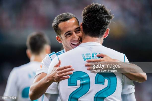 Isco Alarcon of Real Madrid celebrates after scoring his goal Lucas Vazquez of Real Madrid during the La Liga 201718 match between Real Madrid and...