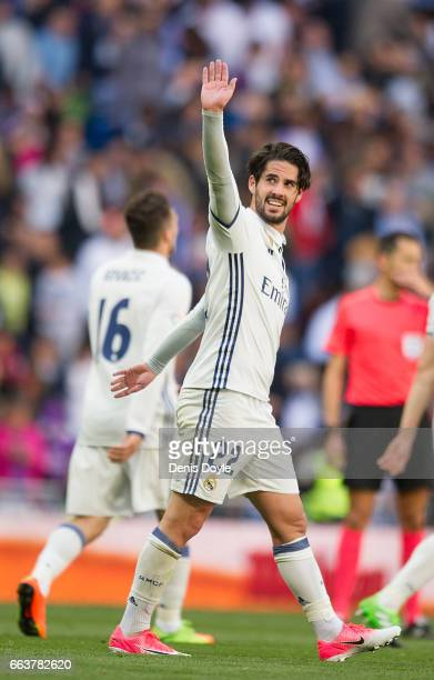 Isco Alarcon of Real Madrid celebrates after scoring Real's 2nd goal during the La Liga match between Real Madrid CF and Deportivo Alaves on April 2...