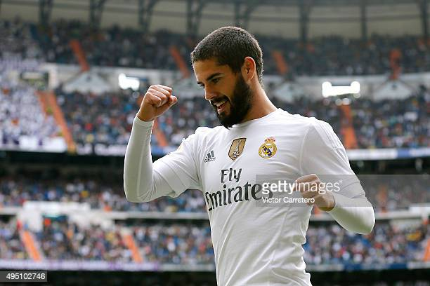 Isco Alarcon of Real Madrid celebrates after scoring the opening goal during the La Liga match between Real Madrid CF and UD Las Palmas at Estadio...