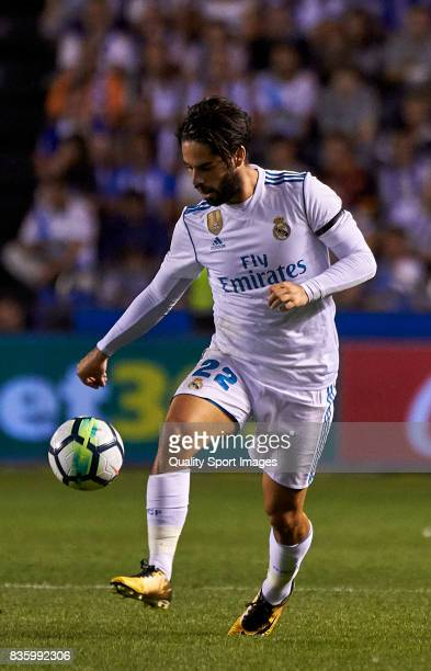 Isco Alarcon of Real Madrid in action during the La Liga match between Deportivo La Coruna and Real Madrid at Riazor Stadium on August 20 2017 in La...