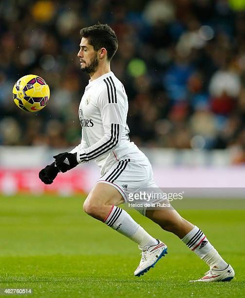 Isco Alarcon of Real Madrid in action during the La Liga match between Real Madrid CF and Sevilla FC at Estadio Santiago Bernabeu on February 4 2015...