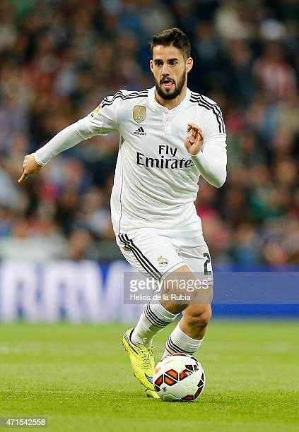 Isco Alarcon of Real Madrid in action during the La Liga match between Real Madrid CF and UD Almeria at Estadio Santiago Bernabeu on April 29 2015 in...