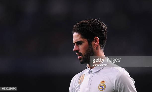 Isco Alarcon of Real Madrid looks on during the La Liga match between Real Madrid CF and Real Sociedad de Futbol at the Bernabeu on January 29 2017...